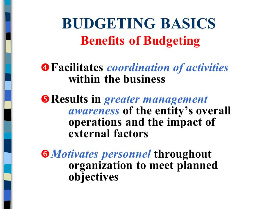 five benefits of budgeting to an organization Financial management for nonprofits project cost-benefit analysis a budget can be thought of as the organization's plan of action.
