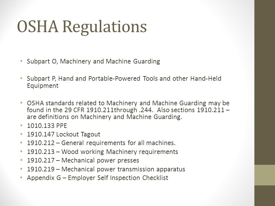 osha machine guarding standards