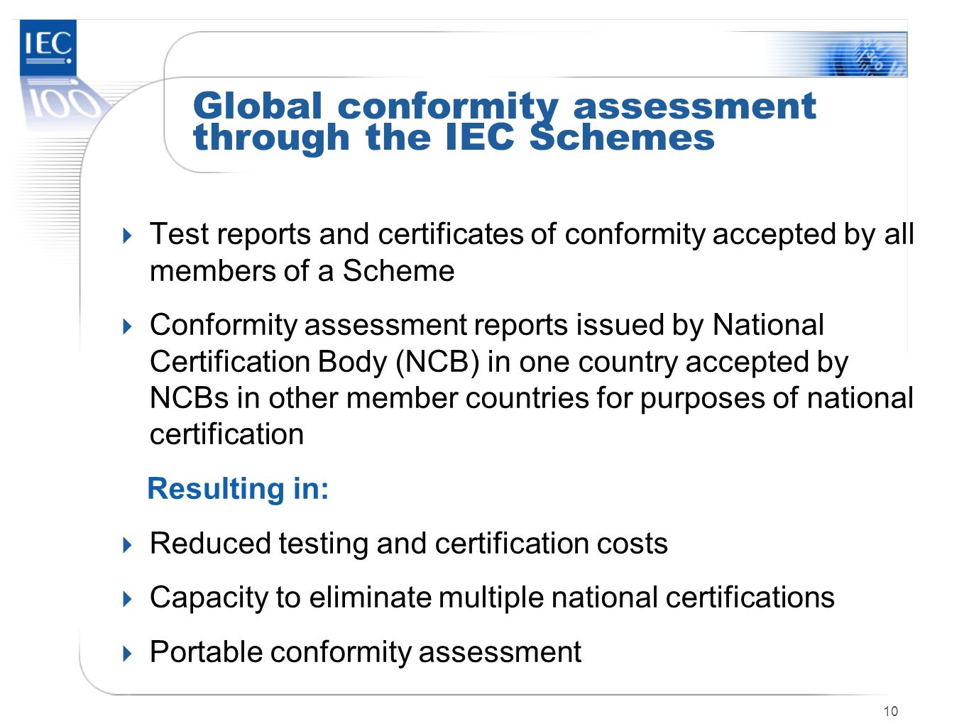 Global conformity assessment through the IEC Schemes