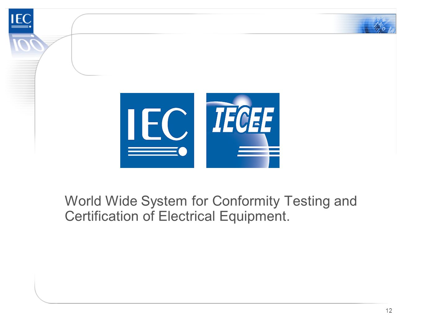 World Wide System for Conformity Testing and Certification of Electrical Equipment.