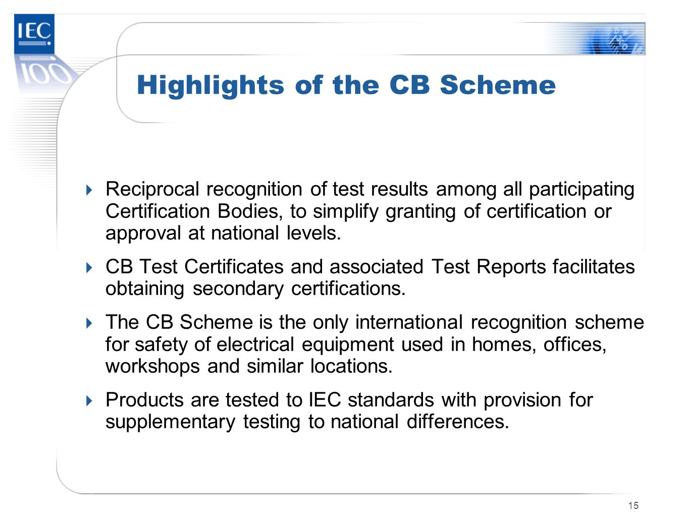 Highlights of the CB Scheme