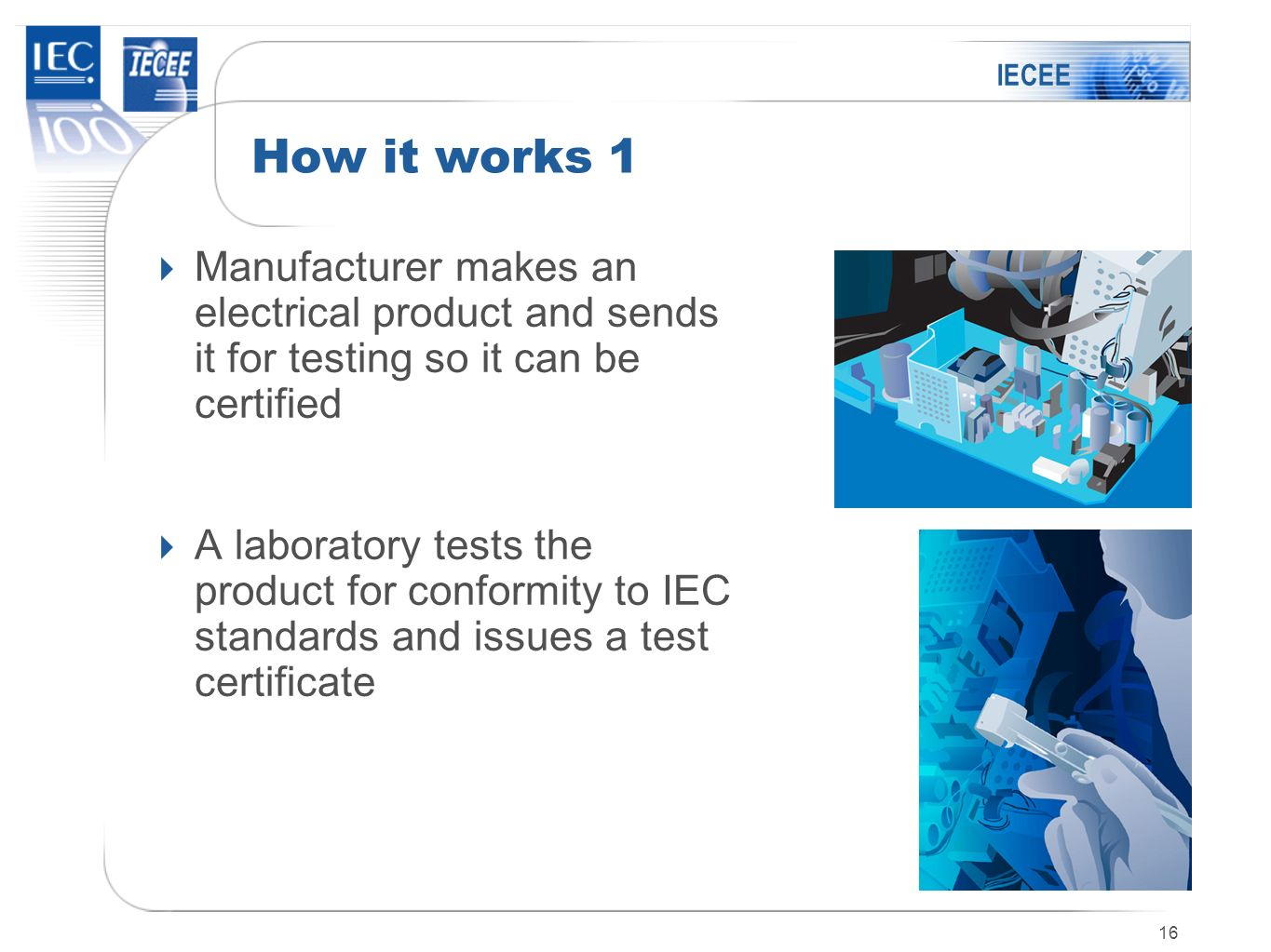 IECEE How it works 1. Manufacturer makes an electrical product and sends it for testing so it can be certified.