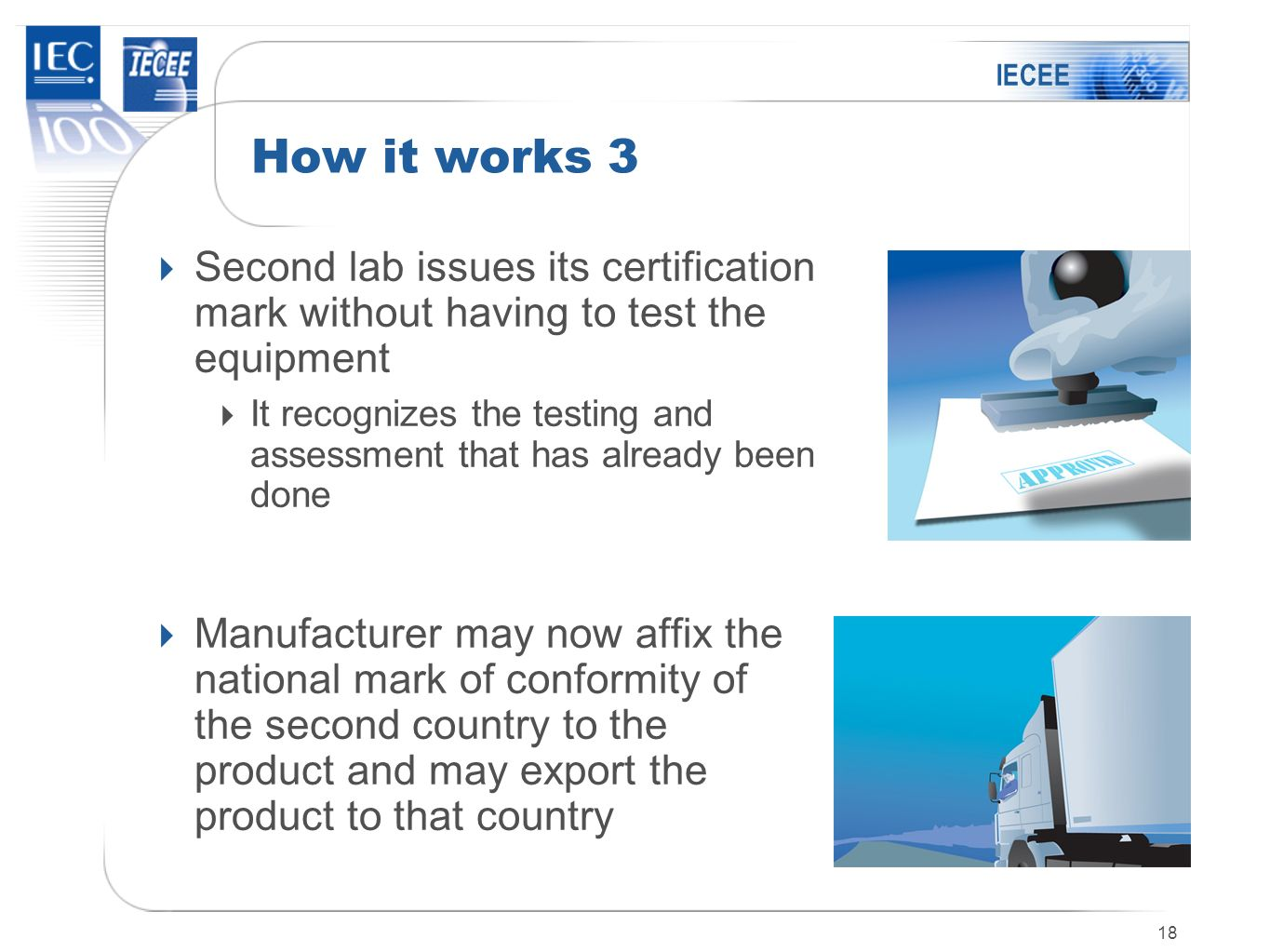 IECEE How it works 3. Second lab issues its certification mark without having to test the equipment.