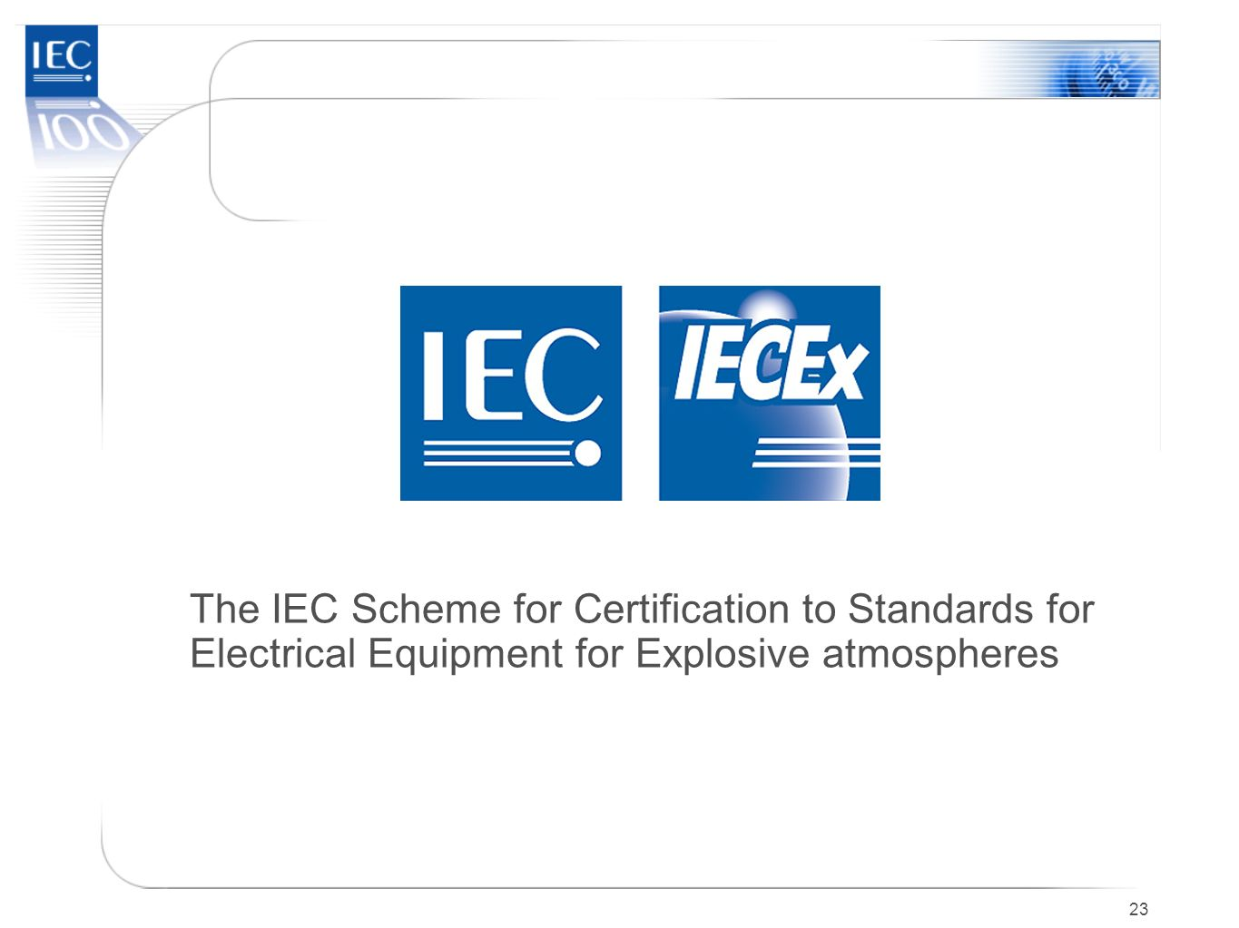 The IEC Scheme for Certification to Standards for Electrical Equipment for Explosive atmospheres