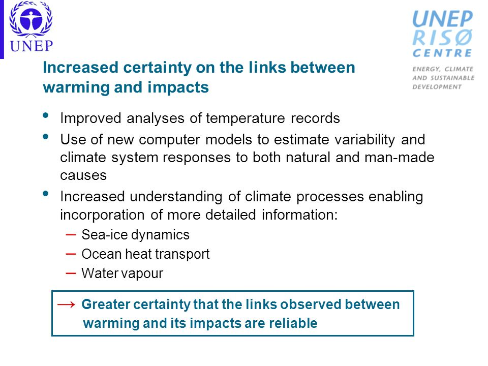 Increased certainty on the links between warming and impacts