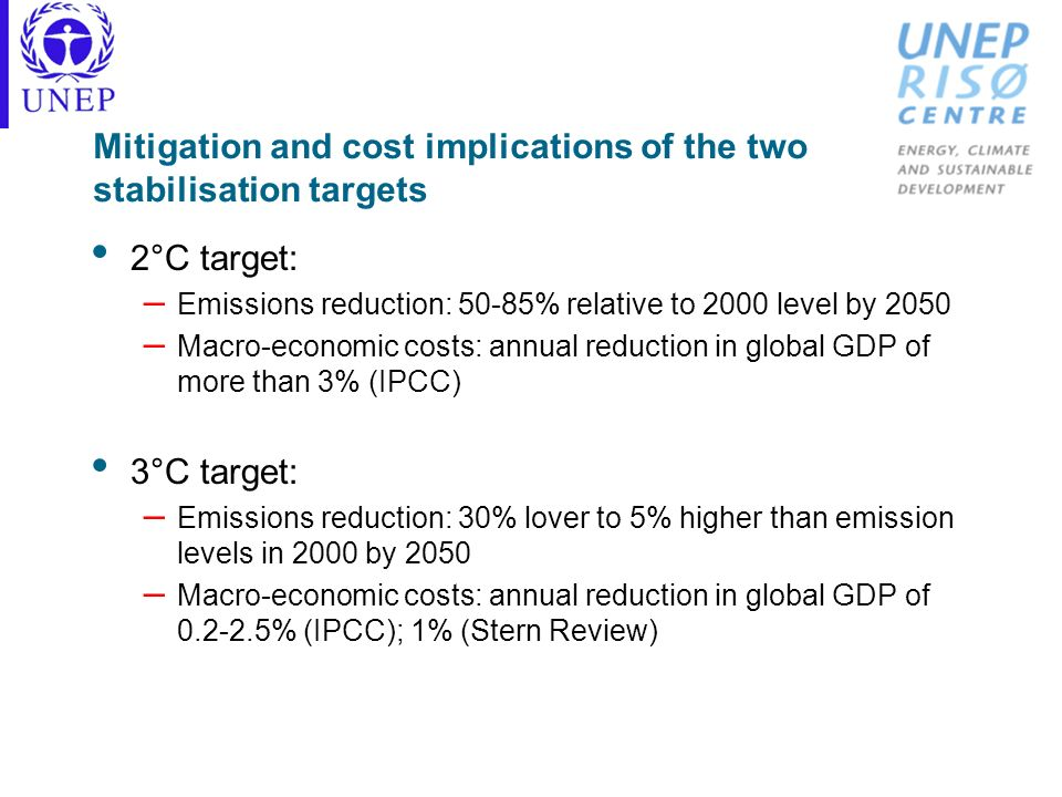 Mitigation and cost implications of the two stabilisation targets