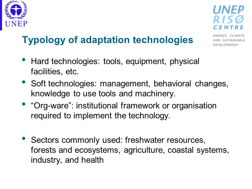 Typology of adaptation technologies