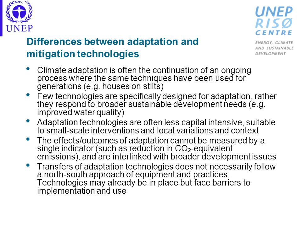 Differences between adaptation and mitigation technologies