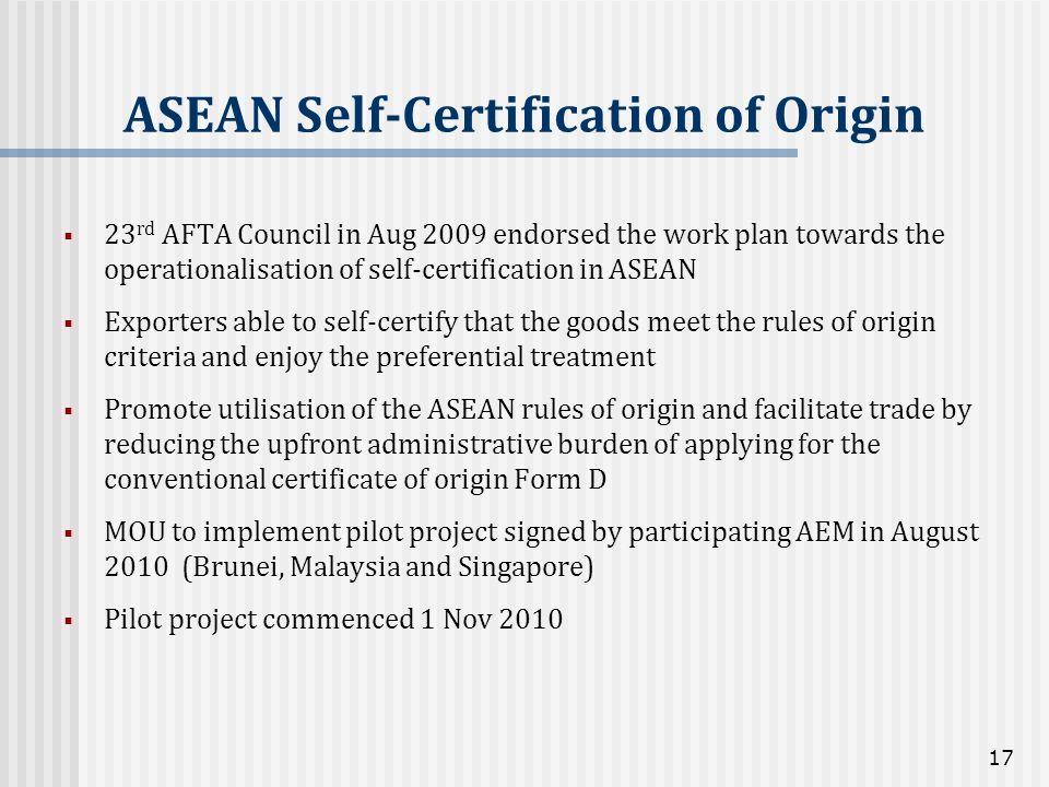 ASEAN Self-Certification of Origin