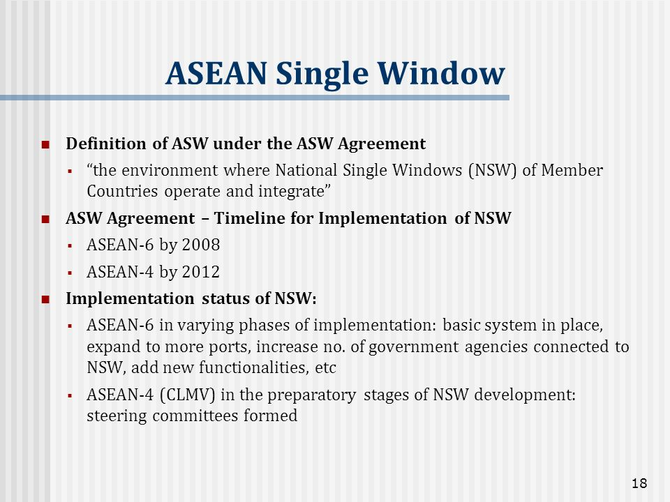ASEAN Single Window Definition of ASW under the ASW Agreement