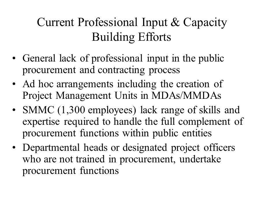 Current Professional Input & Capacity Building Efforts