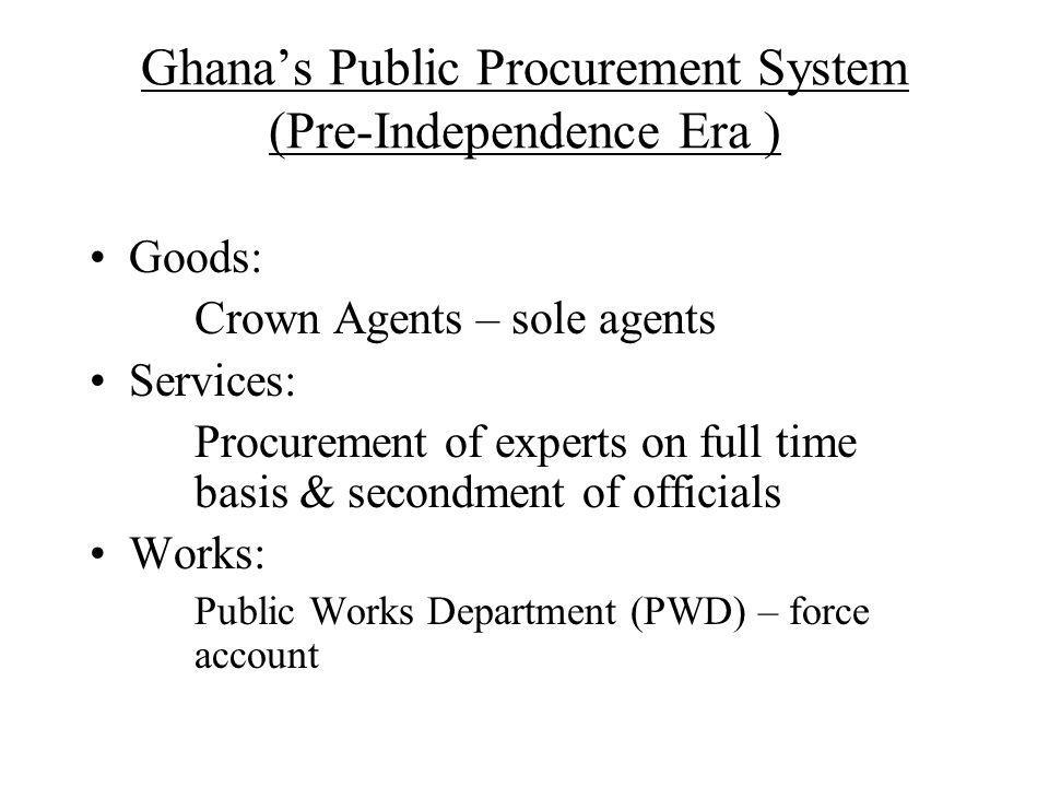 Ghana's Public Procurement System (Pre-Independence Era )