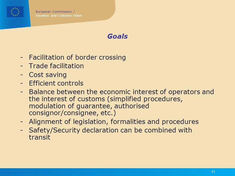 Goals Facilitation of border crossing. Trade facilitation. Cost saving. Efficient controls.