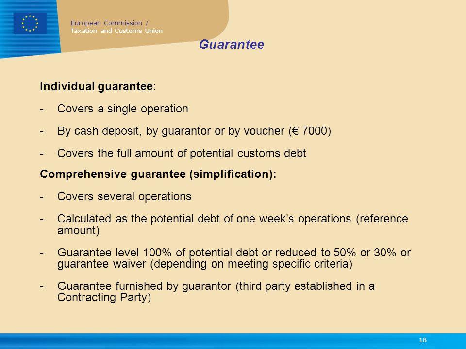Guarantee Individual guarantee: Covers a single operation