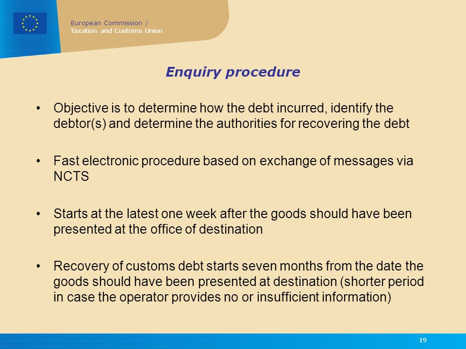 Fast electronic procedure based on exchange of messages via NCTS