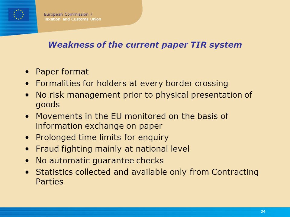 Weakness of the current paper TIR system