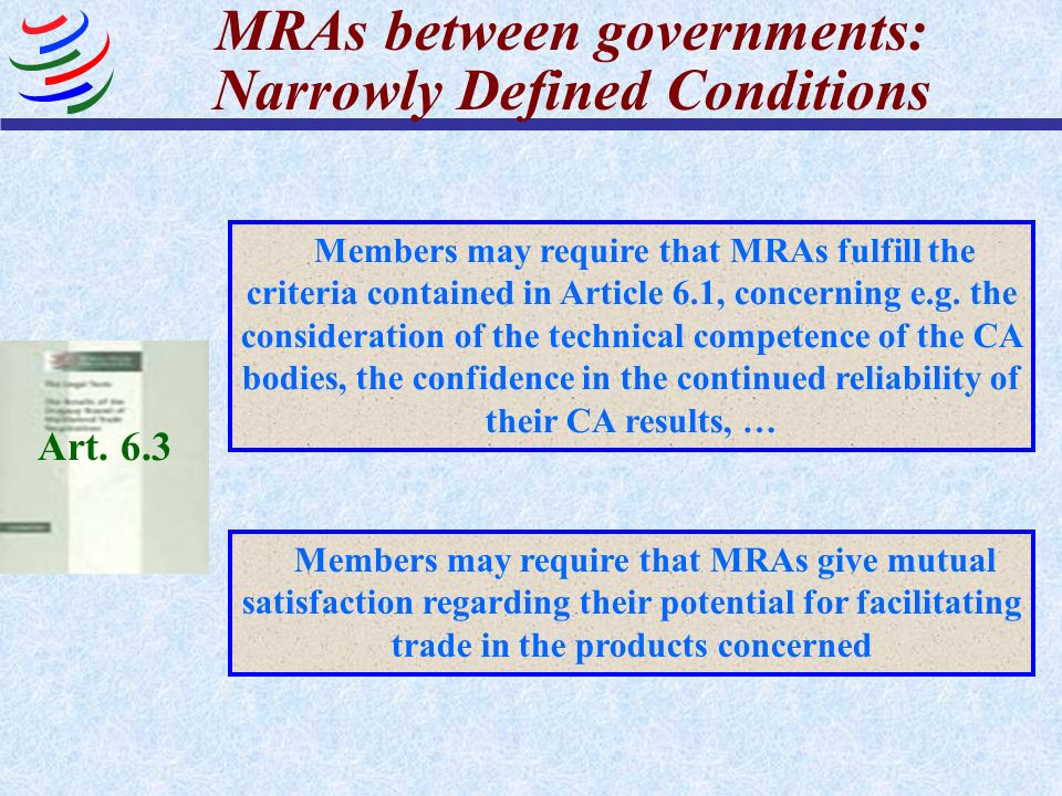 MRAs between governments: Narrowly Defined Conditions