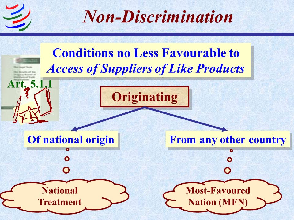 Non-Discrimination Conditions no Less Favourable to