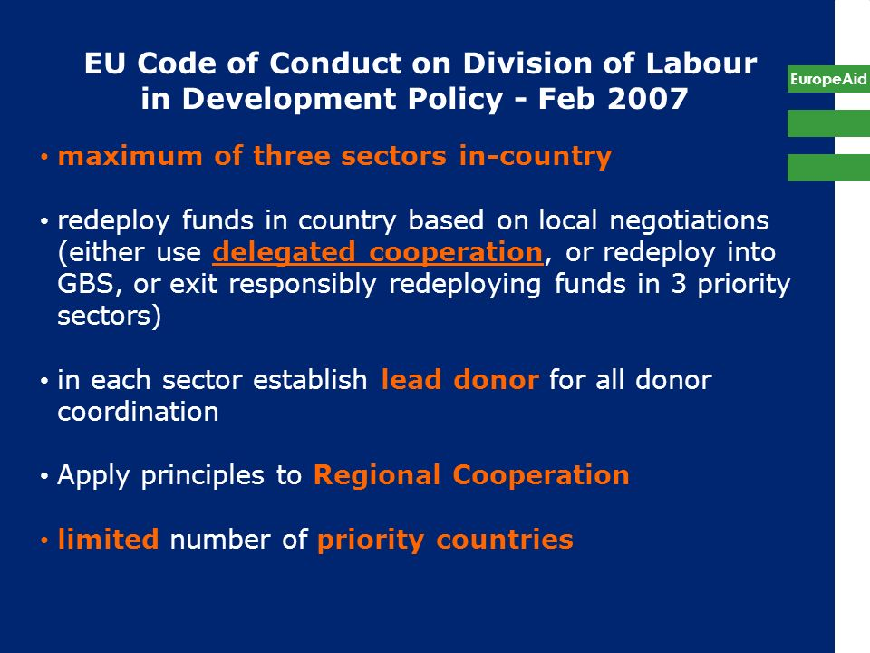 EU Code of Conduct on Division of Labour in Development Policy - Feb 2007