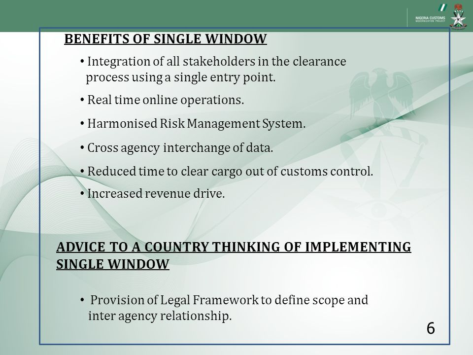 6 BENEFITS OF SINGLE WINDOW