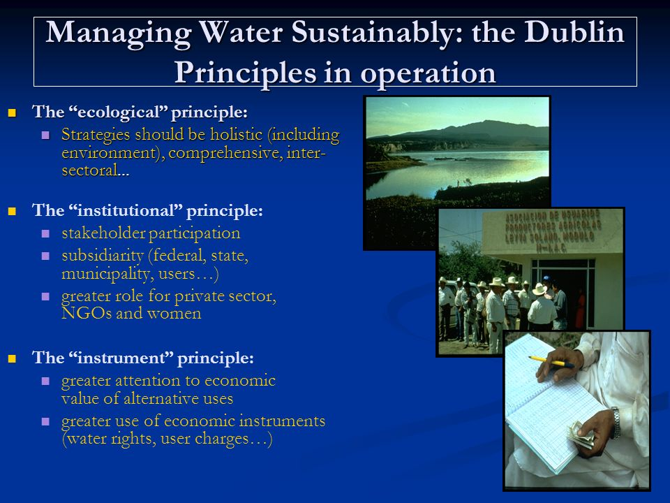 Managing Water Sustainably: the Dublin Principles in operation