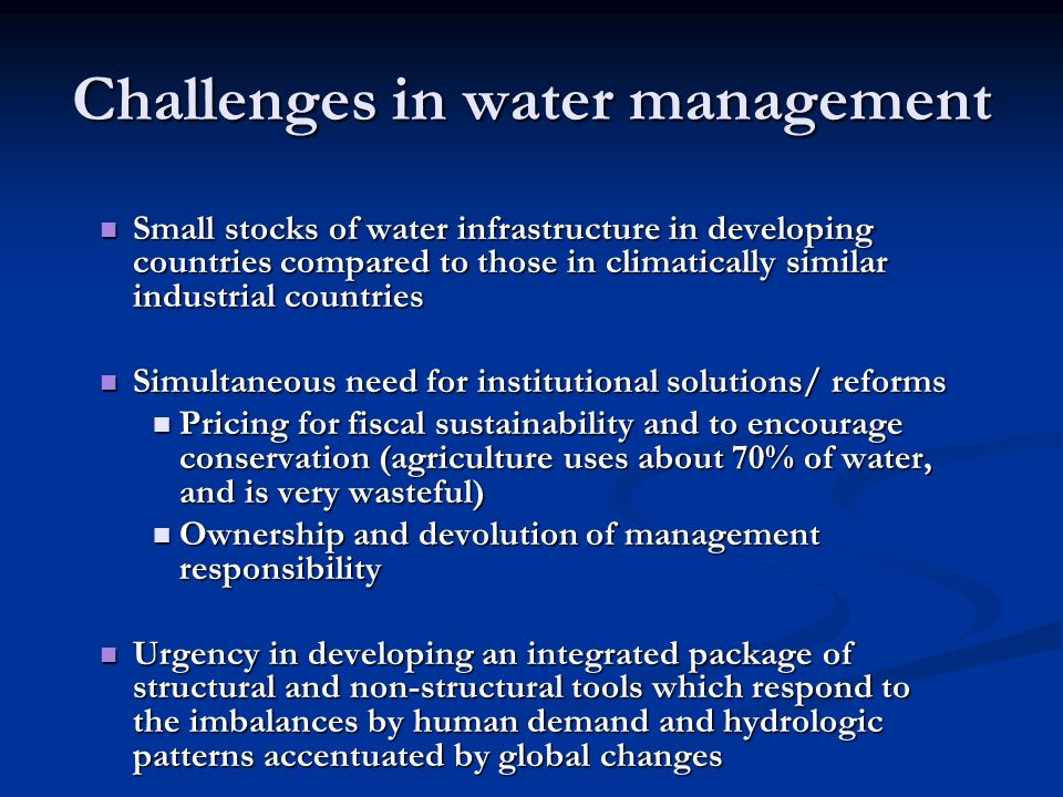 Challenges in water management
