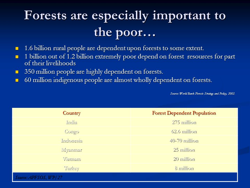 Forests are especially important to the poor…