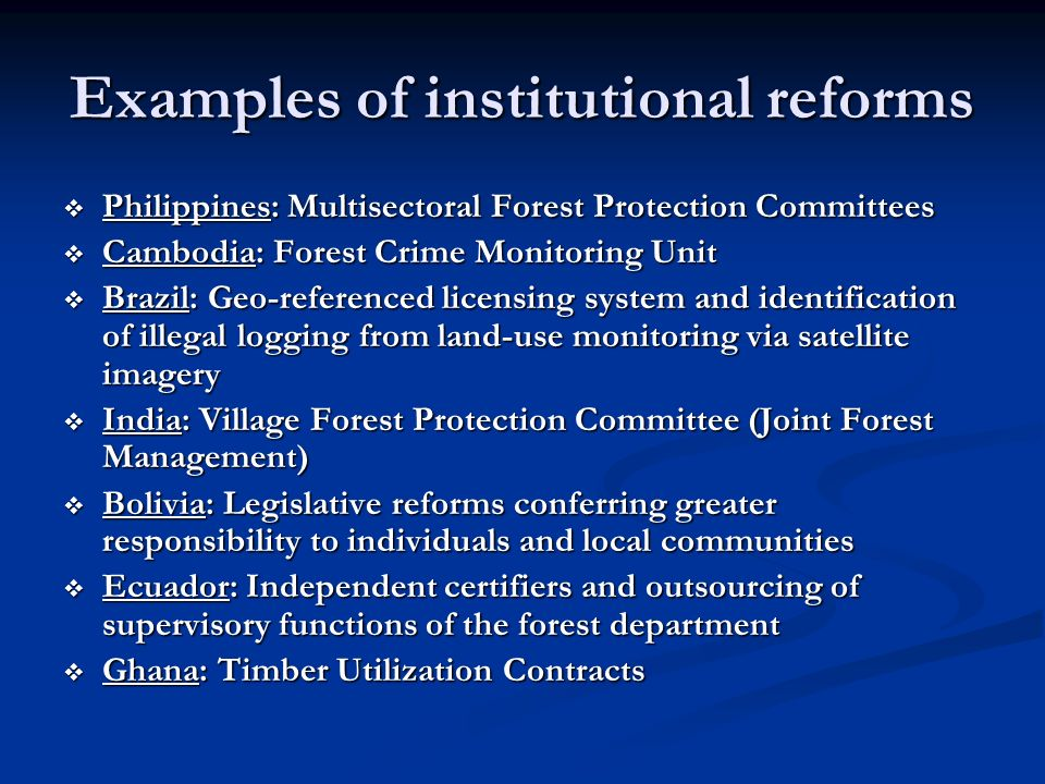Examples of institutional reforms