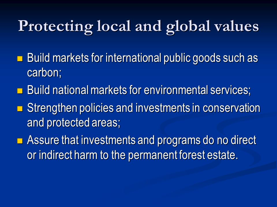 Protecting local and global values