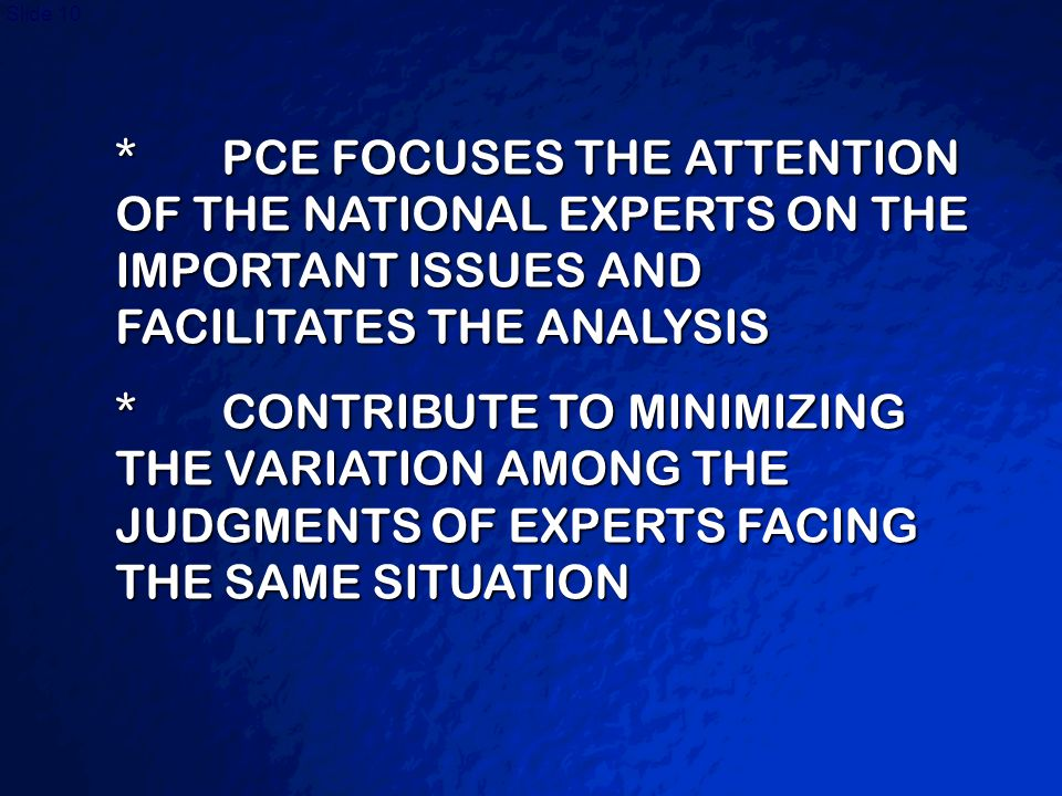 * PCE FOCUSES THE ATTENTION OF THE NATIONAL EXPERTS ON THE IMPORTANT ISSUES AND FACILITATES THE ANALYSIS
