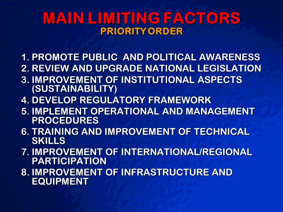 MAIN LIMITING FACTORS PRIORITY ORDER