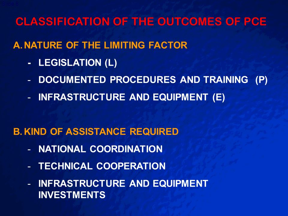 CLASSIFICATION OF THE OUTCOMES OF PCE