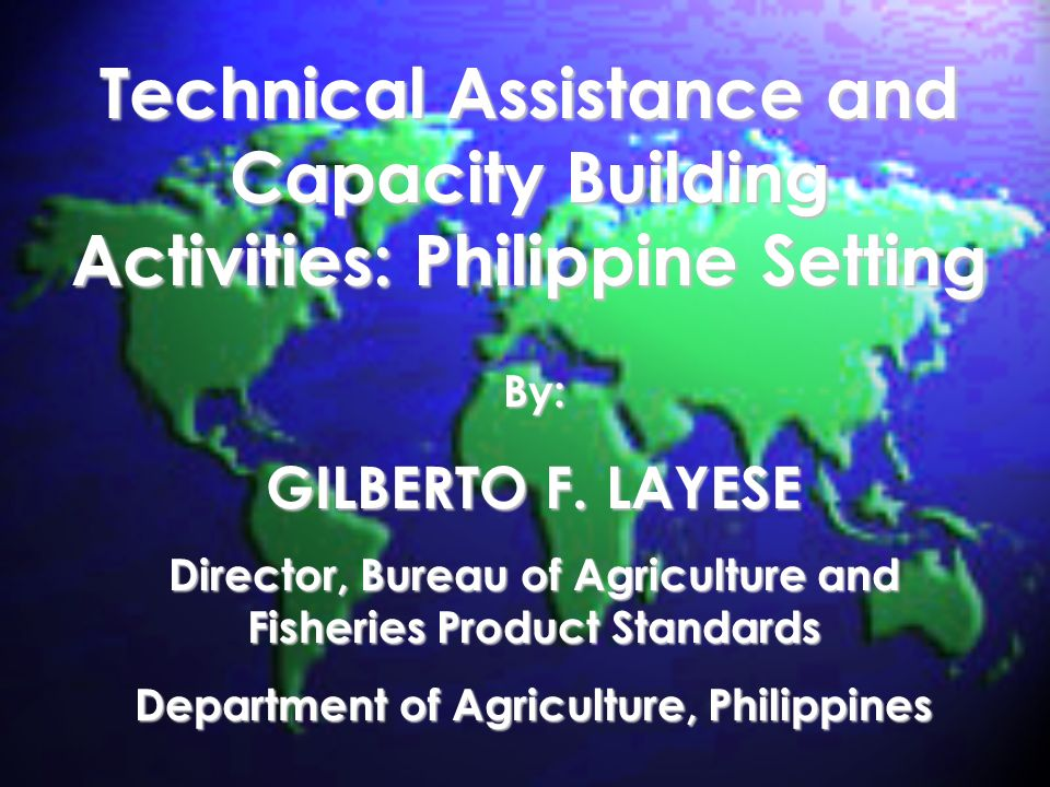 Technical Assistance and Capacity Building Activities: Philippine Setting