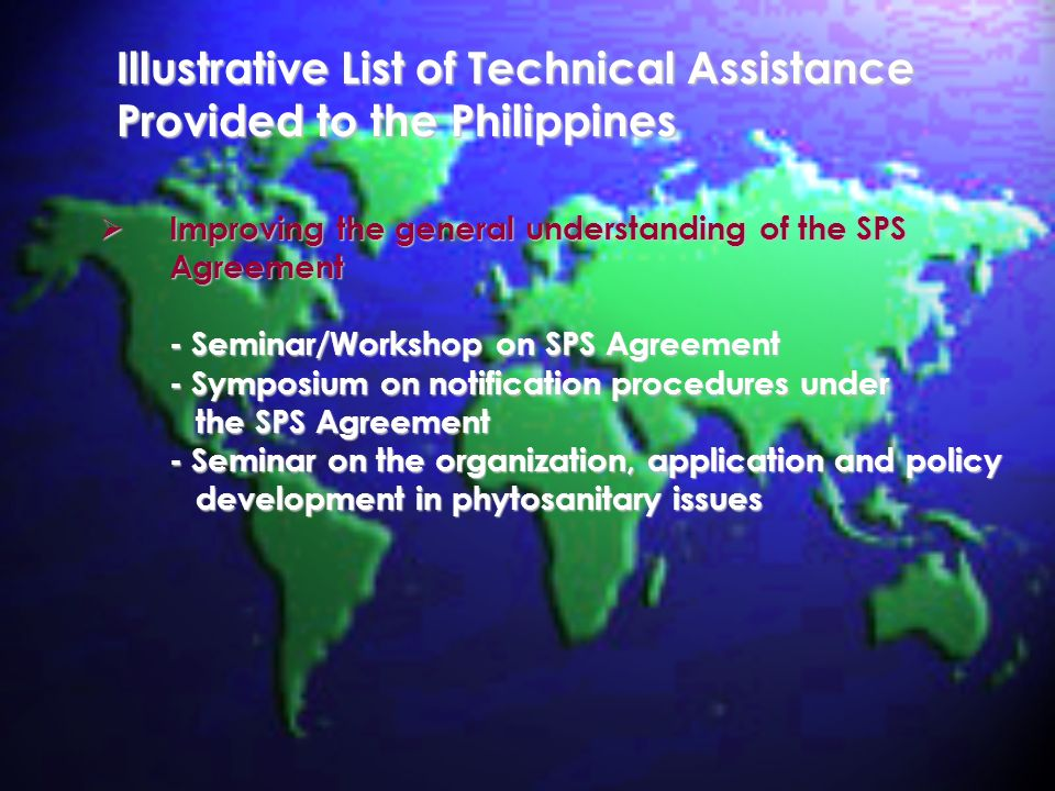 Illustrative List of Technical Assistance Provided to the Philippines