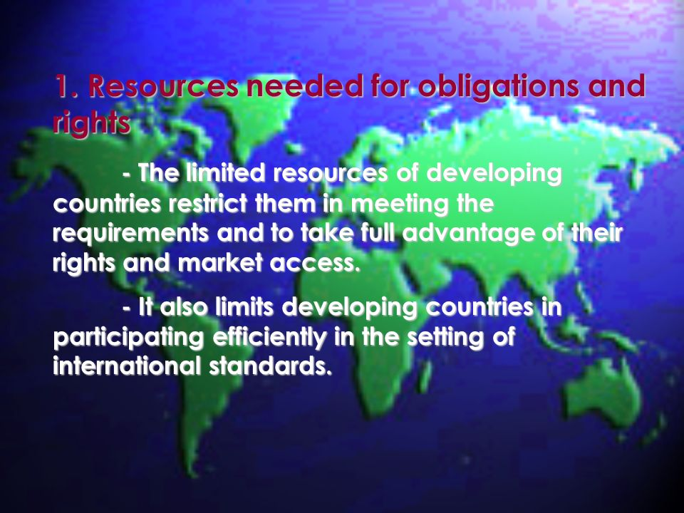 1. Resources needed for obligations and rights