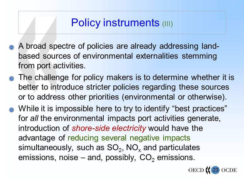Policy instruments (III)