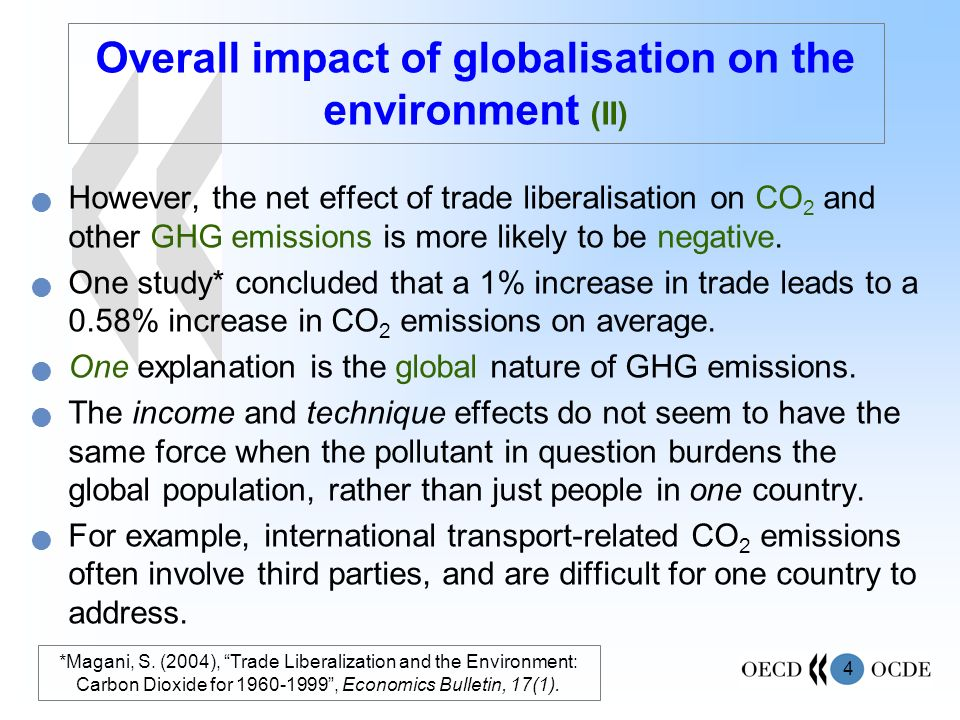Overall impact of globalisation on the environment (II)