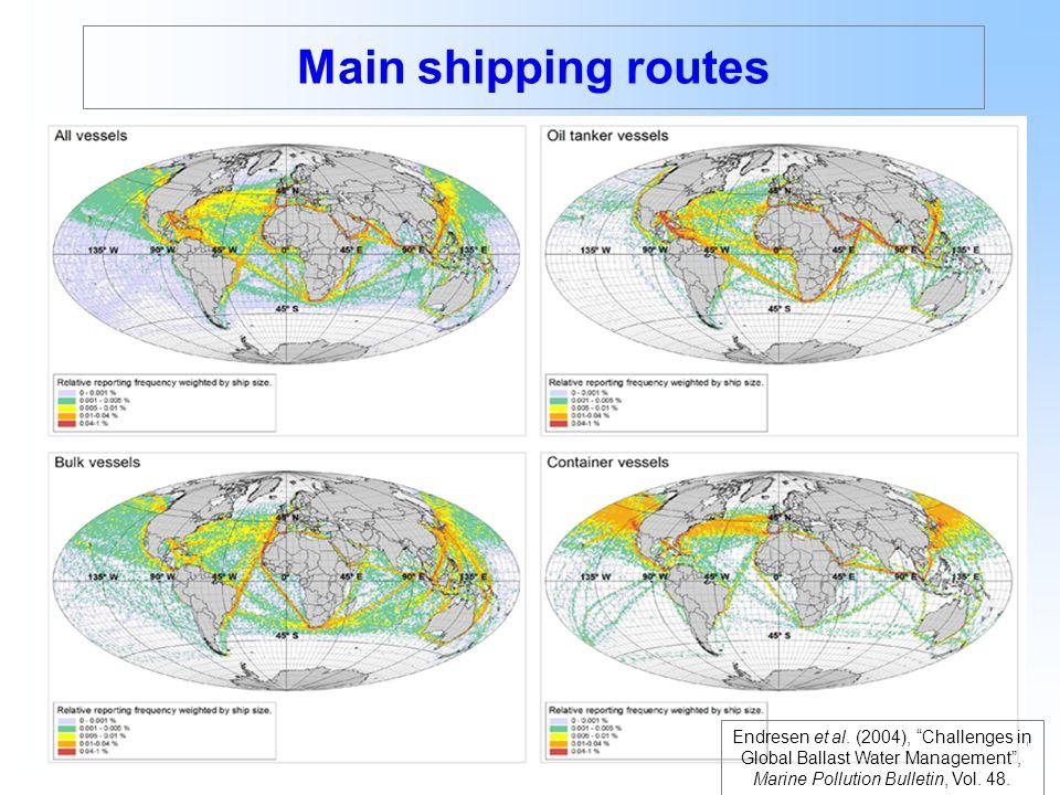 Main shipping routes Endresen et al.