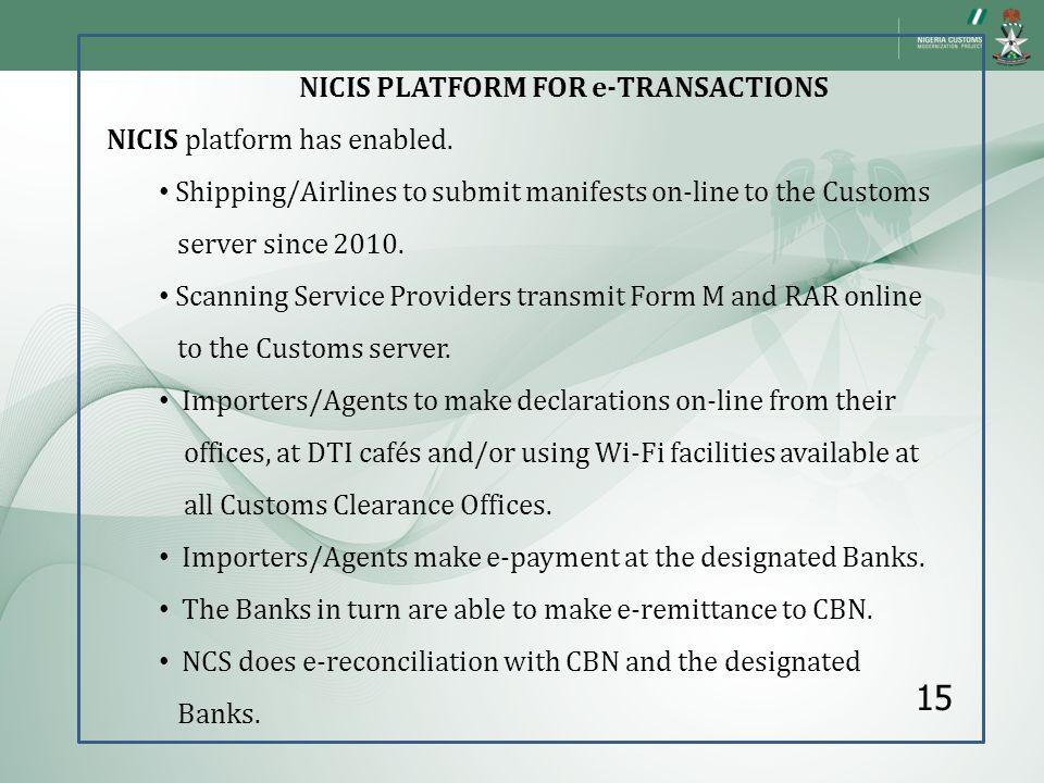 NICIS PLATFORM FOR e-TRANSACTIONS