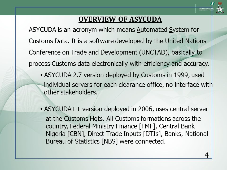 OVERVIEW OF ASYCUDA