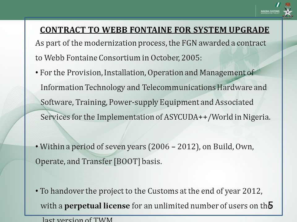 CONTRACT TO WEBB FONTAINE FOR SYSTEM UPGRADE