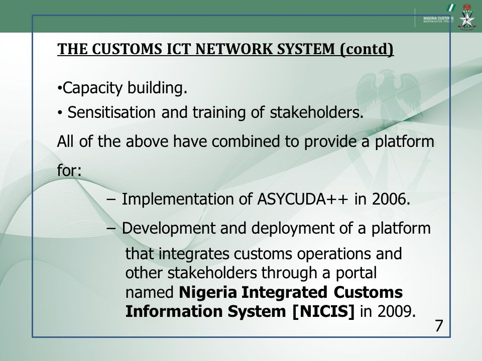 THE CUSTOMS ICT NETWORK SYSTEM (contd)