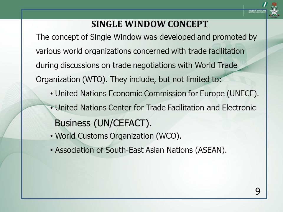 SINGLE WINDOW CONCEPT Business (UN/CEFACT). 9