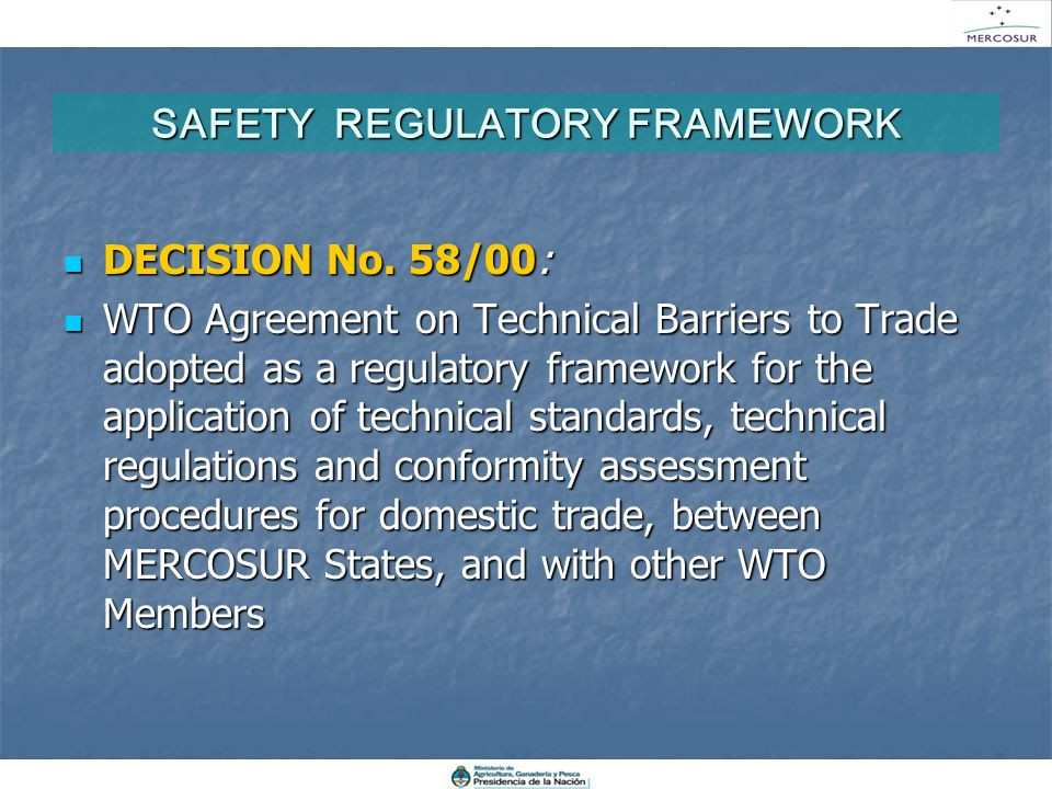SAFETY REGULATORY FRAMEWORK