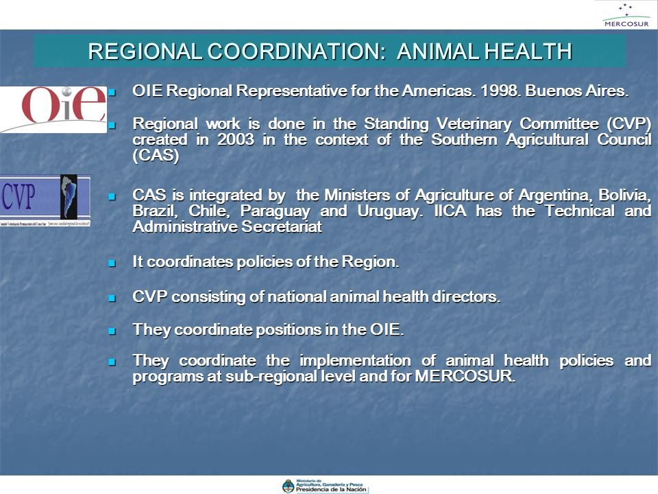REGIONAL COORDINATION: ANIMAL HEALTH