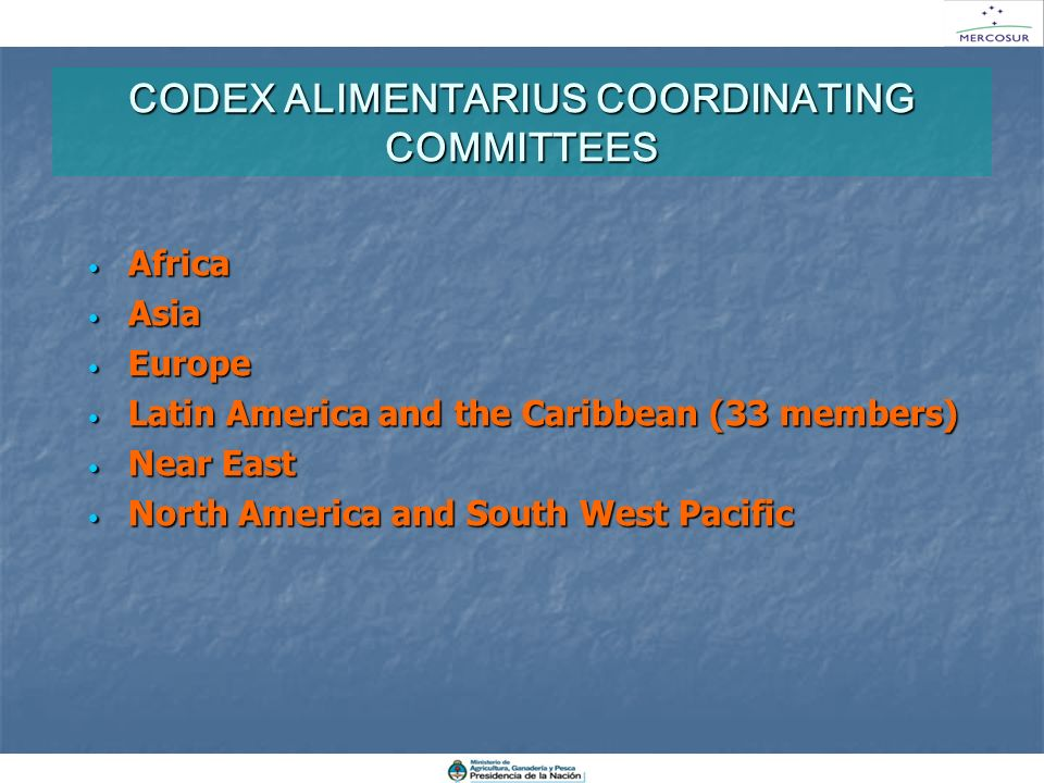 CODEX ALIMENTARIUS COORDINATING COMMITTEES