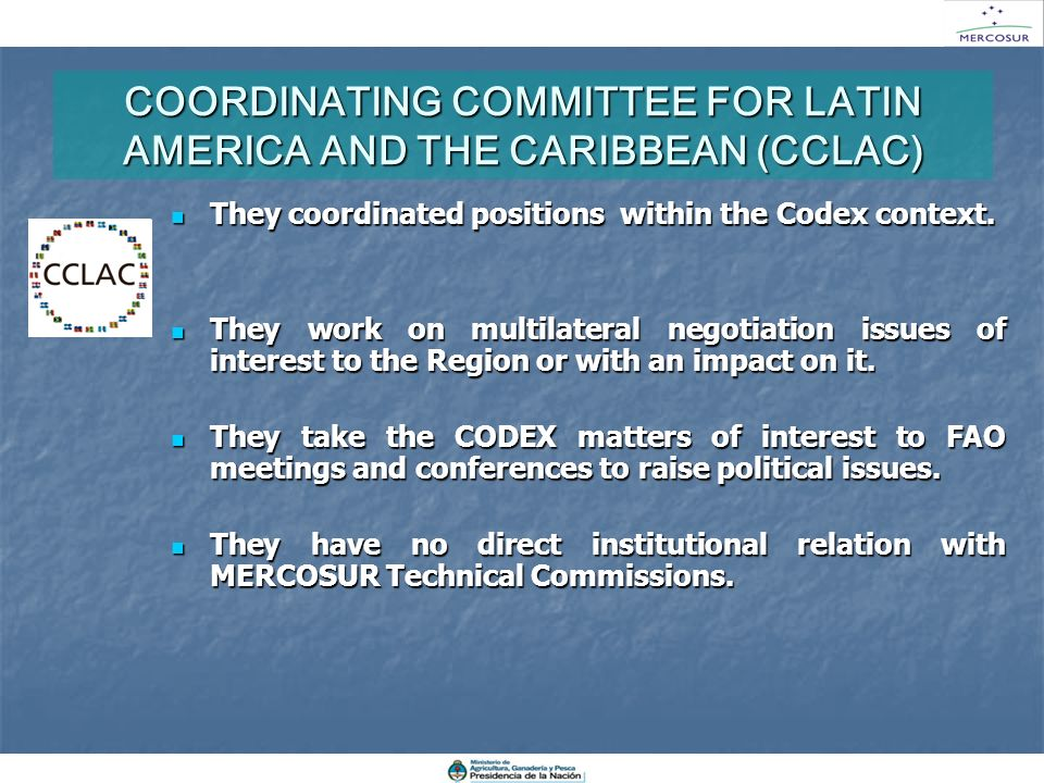 COORDINATING COMMITTEE FOR LATIN AMERICA AND THE CARIBBEAN (CCLAC)
