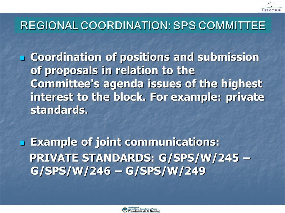 REGIONAL COORDINATION: SPS COMMITTEE