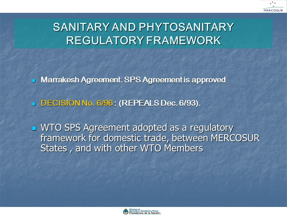 SANITARY AND PHYTOSANITARY REGULATORY FRAMEWORK