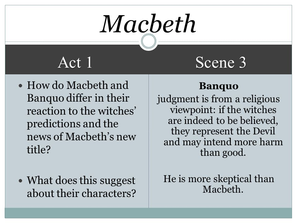 critical analysis macbeth act 1 Get an answer for 'give examples of literary devices used in act i, scene 1 of macbeth ' and find homework help for other macbeth questions at enotes.